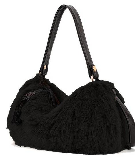 Black faux fur handbag / purse
