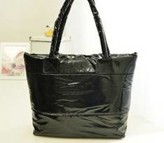Black puffy shoulder bag