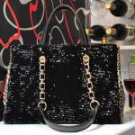 Black sequin and leopard print handbag/ shoulder bag (detachable shoulder strap)