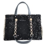 Black sequin handbag with leopard print and detachable shoulder straps
