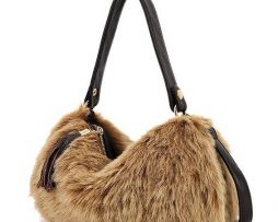 Faux fur handbag / purse - brown