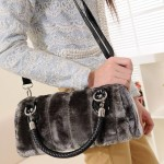 Faux fur handbag with detachable shoulder straps