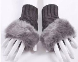 Grey fingerless gloves trimmed with faux fur