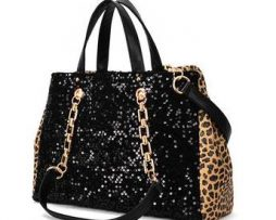 Leopard and sequin shoulder bag/ handbag - detachable shoulder strap