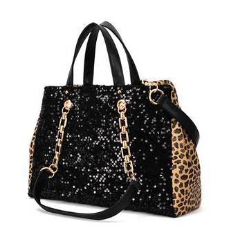 Leopard and sequin shoulder bag/ handbag - detachable shoulder strap