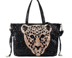Leopard Head Black and Gold Sequin Handbag