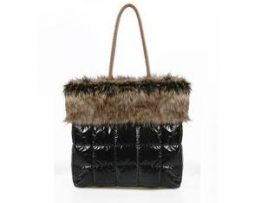 Black puffy purse with faux fur trim (shoulder bag)