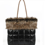 Black Puffy Shoulder Bag with Faux Fur Trim