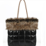 Black Puffy Shoulder Bag with Faux Fur Trim