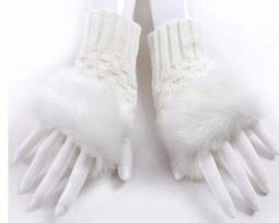 White faux fur fingerless gloves