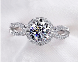 cubic zircona white gold ring