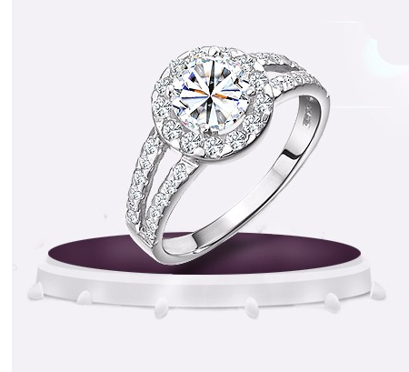 Round Cubic Zirconia Ring with Crystal Studded Band