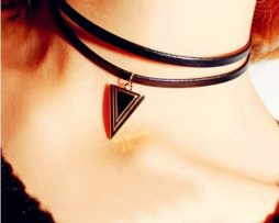 "Leather choker necklace ""lolita"""