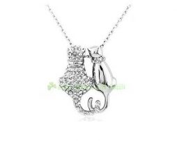 Cat pendant necklace, silver