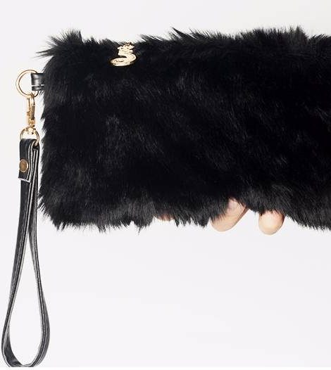 Black faux fur clutch
