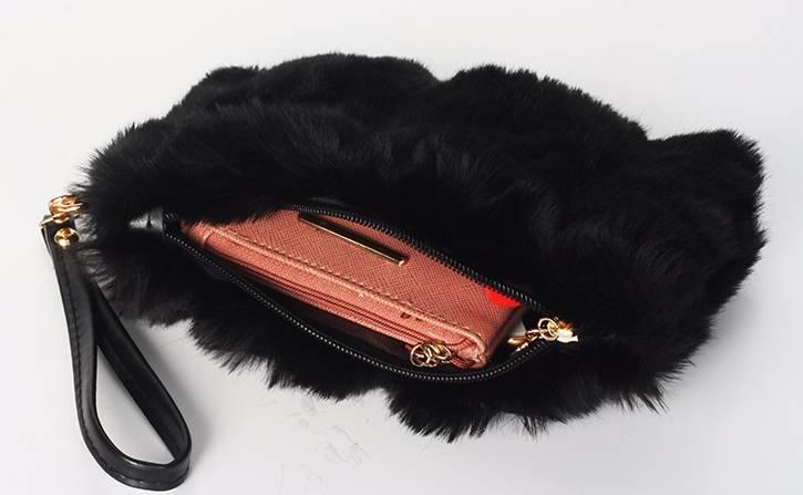 Black Faux Fur Clutch