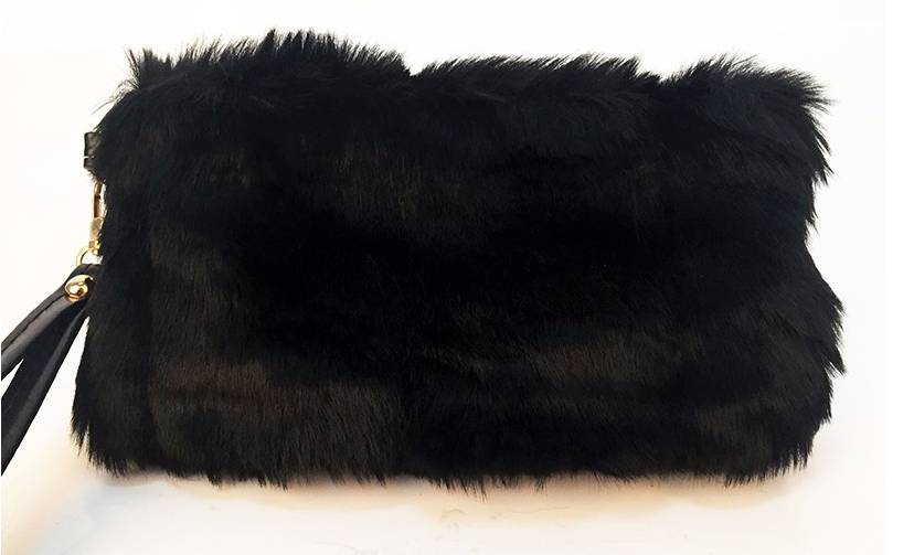 Faux Fur Clutch Black Purse