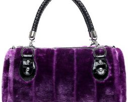 Faux Fur handbag / Clutch purse Purple