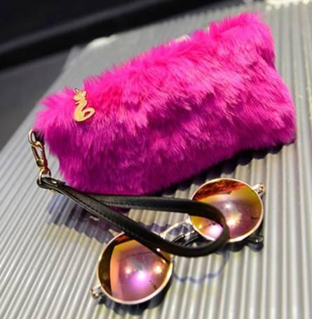 Pink Furry Clutch
