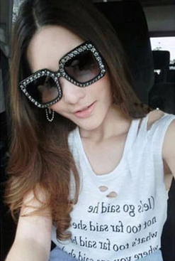 Oversized crystal studded black sunglasses
