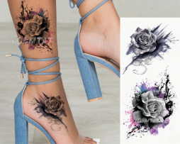Rose temporary tattoo for women
